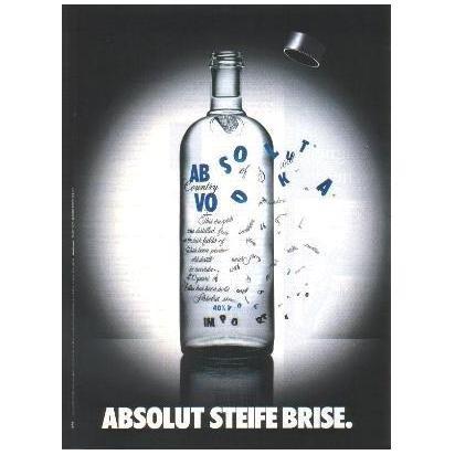 ABSOLUT STEIFE BRISE German Language Vodka Magazine Ad