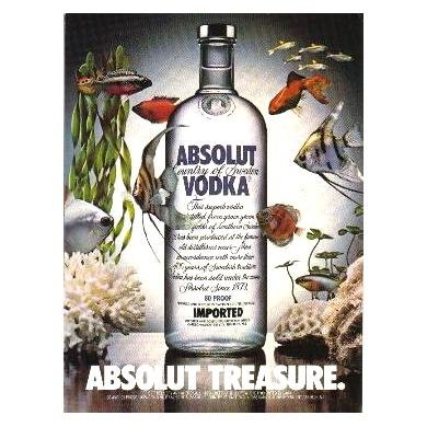 ABSOLUT TREASURE Vodka Magazine Ad