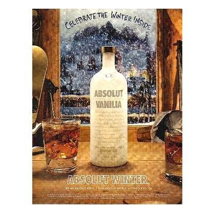 ABSOLUT WINTER Vodka Magazine Ad ABSOLUT BLUFF COCKTAIL RECIPE