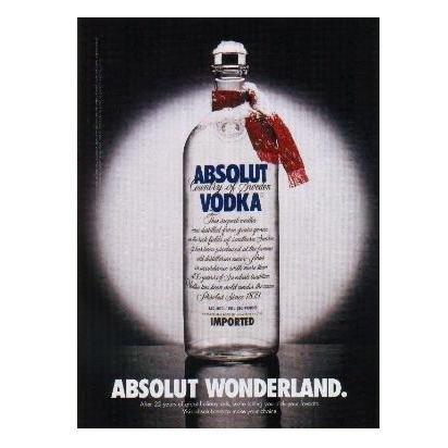 ABSOLUT WONDERLAND Vodka Magazine Ad w/ Holiday Ads Caption