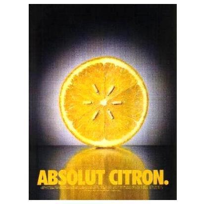 ABSOLUT CITRON Vodka Magazine Ad LEMON SEEDS Black & White Background