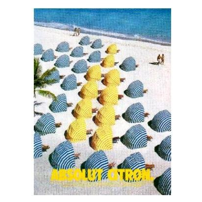 ABSOLUT CITRON Vodka Magazine Ad BEACH UMBRELLAS
