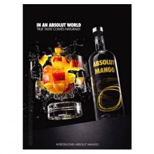 IN AN ABSOLUT WORLD Vodka Magazine Ad TRUE TASTE COMES NATURALLY � MANGO (Exploding Glass)