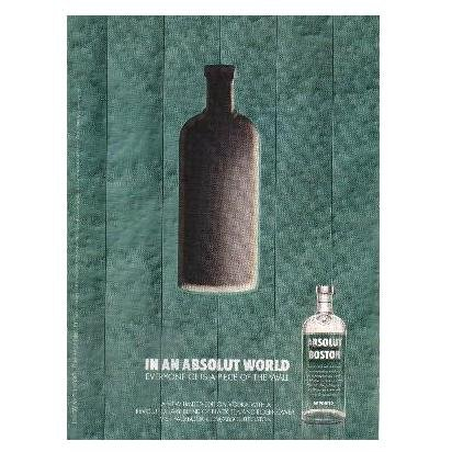 IN AN ABSOLUT WORLD Vodka Magazine Ad EVERYONE GETS A PIECE OF THE WALL