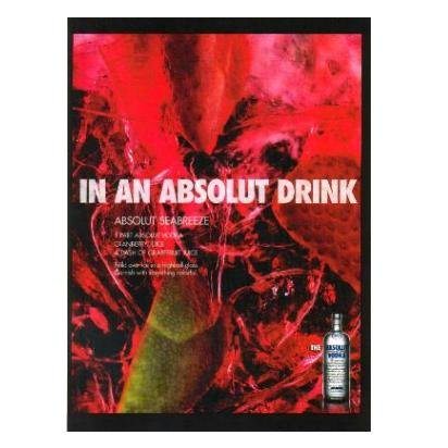 IN AN ABSOLUT DRINK Vodka Magazine Ad w/ ABSOLUT SEABREEZE Cocktail Recipe