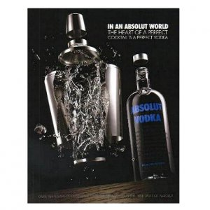 IAAW THE HEART OF A PERFECT COCKTAIL... Absolut Vodka Magazine Ad