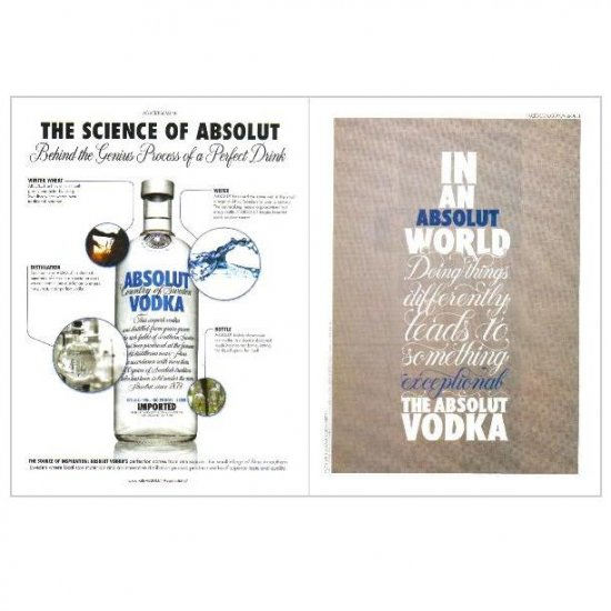 THE SCIENCE OF ABSOLUT & IAAW DOING THINGS DIFFERENTLY... Double-Sided Vodka Magazine Ad