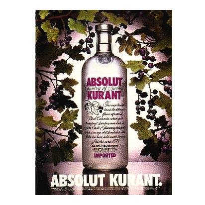 ABSOLUT KURANT Vodka Magazine Ad VINES OF CURRANTS