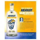 ABSOLUT VANCOUVER Vodka Magazine Ad