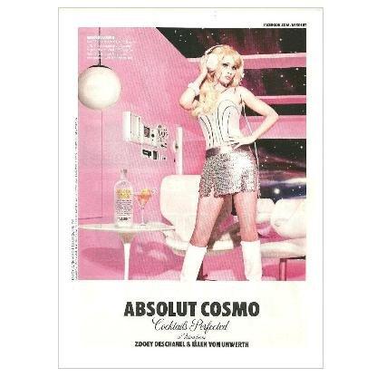ABSOLUT COSMO w/ Zooey Deschanel Vodka Magazine Ad