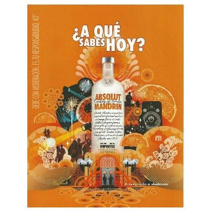 ¿A QU� SABES HOY? Absolut Mandrin Vodka Magazine Ad SPANISH TEXT