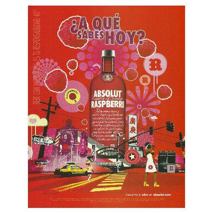 ¿A QU� SABES HOY? Absolut Raspberri Vodka Magazine Ad SPANISH TEXT