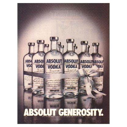 ABSOLUT GENEROSITY Vodka Magazine Ad 1984