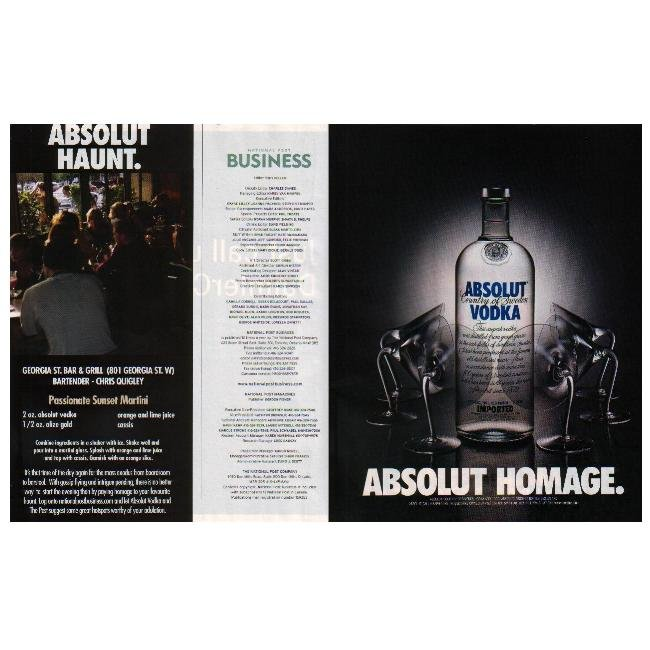ABSOLUT HAUNT & HOMAGE Canadian Vodka Magazine Ads - 2 PAGES