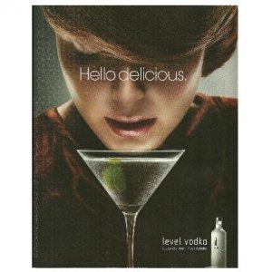 HELLO DELICIOUS Absolut Level Vodka Ad BRUNETTE WOMAN