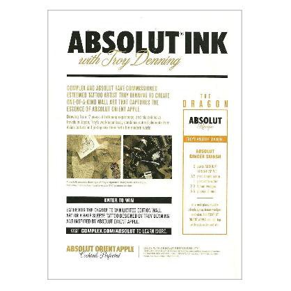 ABSOLUT INK Troy Denning & Complex Magazine Announcement Vodka Ad 2011