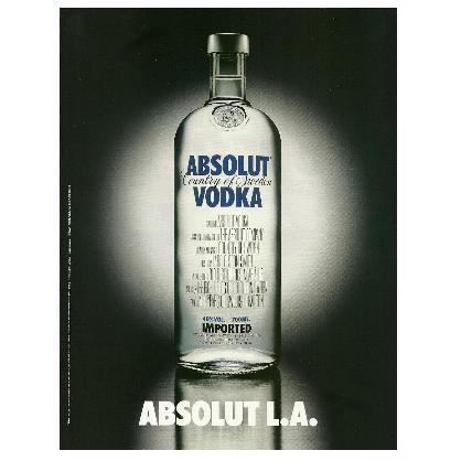 ABSOLUT L.A. Vodka Magazine Ad MOVIE CREDITS VERSION
