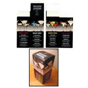 ABSOLUT MARTINI Cocktail Recipe Table Display Box w/ 12 Recipes