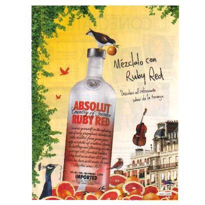 M�ZCLALO CON RUBY RED Spanish Language Absolut Vodka Magazine Ad