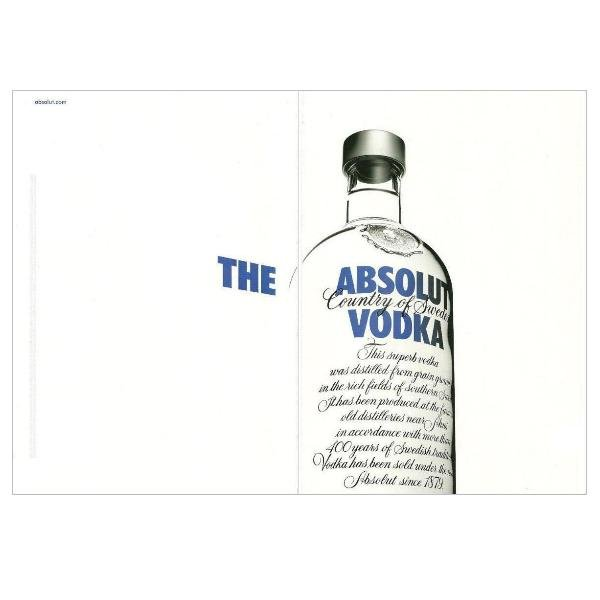 THE ABSOLUT VODKA Magazine Ad WHITE BACKGROUND 2 Pages