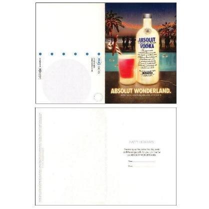ABSOLUT WONDERLAND Vodka Ad Postcard & CHRISTMAS HOLIDAY PARTY Invitation