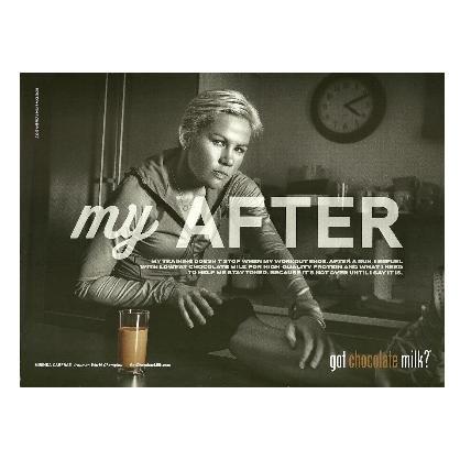 MIRINDA CARFRAE got chocolate milk? Magazine Ad NO MUSTACHE 1 Page Horizontal
