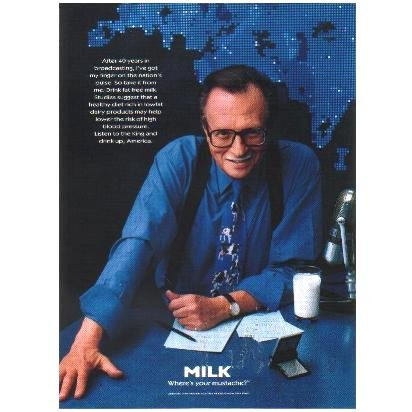 LARRY KING Milk Mustache Magazine Ad © 1997