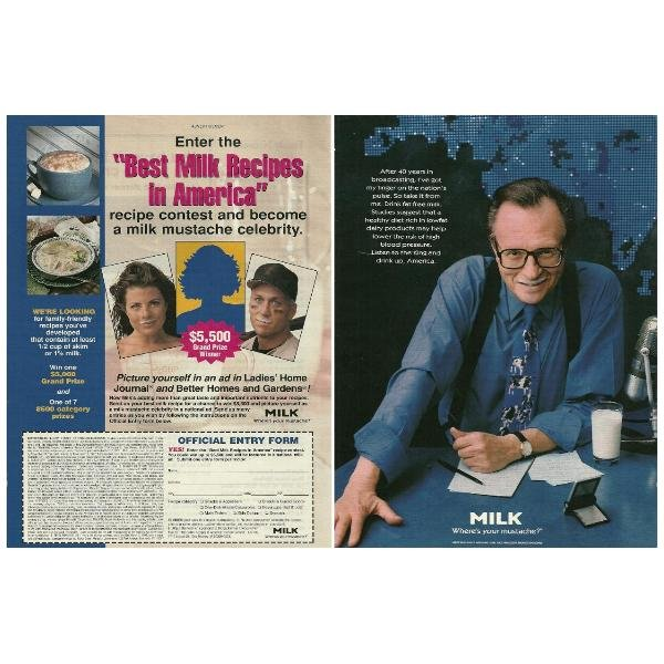 LARRY KING Milk Mustache Magazine Ad © 1997 - 2 PAGES