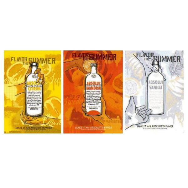 MAKE IT AN ABSOLUT SUMMER - 3 Different Postcards - CITRON MANDRIN & VANILIA