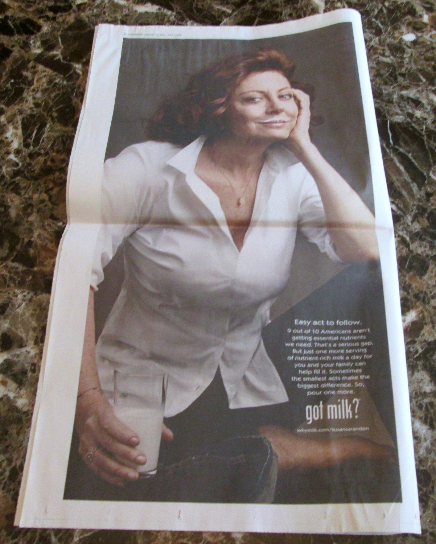 SUSAN SARANDON got milk? USA Today Newspaper Full-Page Ad 2011