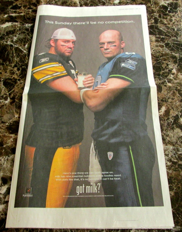 BEN ROETHLISBERGER and MATT HASSELBECK Super Bowl XL got milk? Newspaper Ad