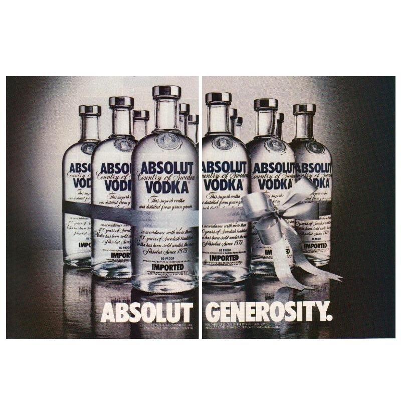 ABSOLUT GENEROSITY Vodka Magazine Ad - 2 PAGES
