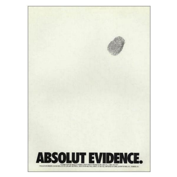 ABSOLUT EVIDENCE Vodka Magazine Ad