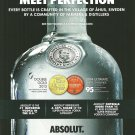 "MEET PERFECTION ""EVERY BOTTLE IS CRAFTED"" Absolut Vodka Magazine Ad"