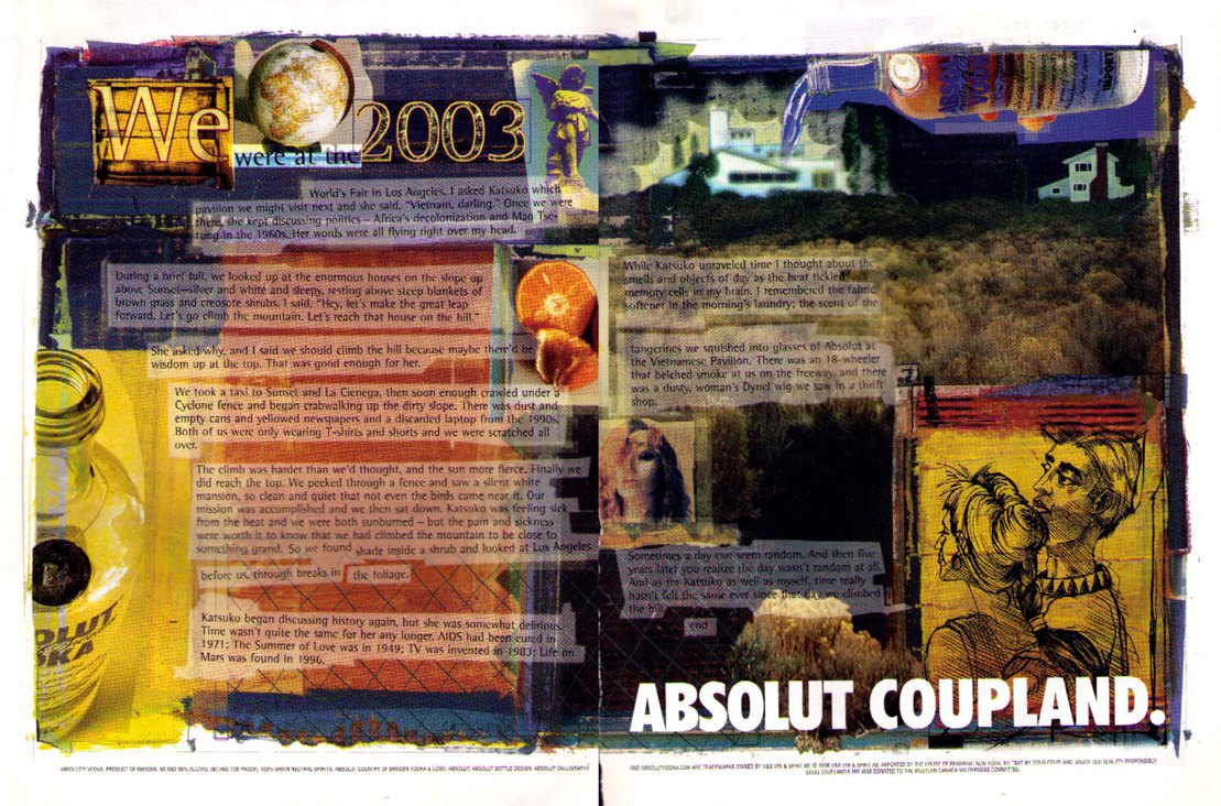 ABSOLUT COUPLAND Vodka Ad (Douglas Coupland) 2 Pages HARD TO FIND!