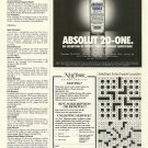 ABSOLUT 20-ONE 1/3rd Page Vodka Magazine Ad RARE!