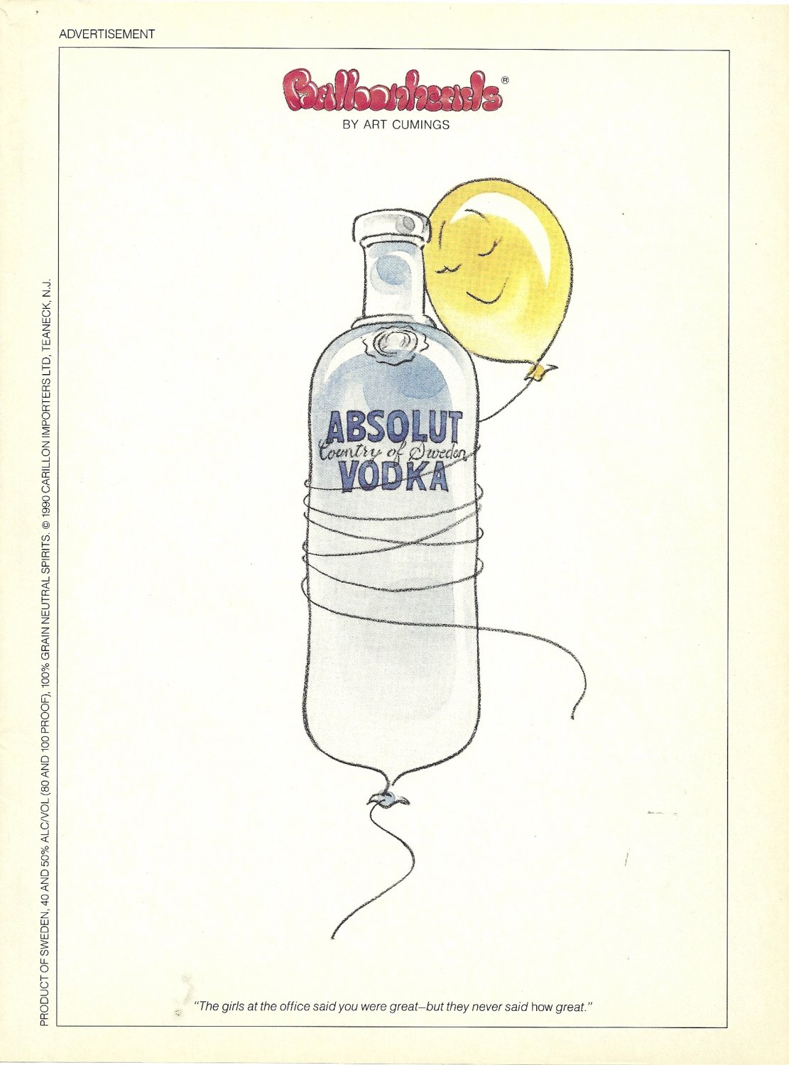 """ABSOLUT BALLOONHEADS Vodka Magazine Ad """"The Girls at the office..."""" HARD TO GET"""