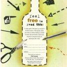 ABSOLUT FREEDOM Vodka Magazine Ad Donation Plea for PEN Canada RARE!