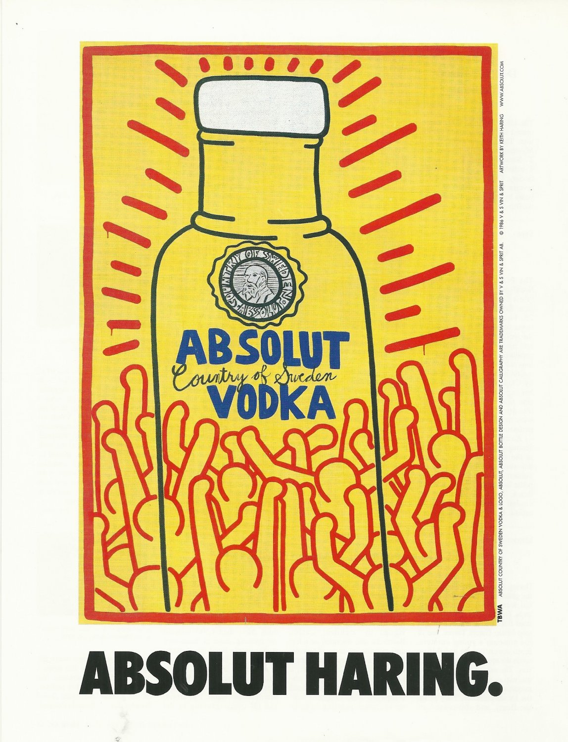 ABSOLUT HARING Italian Version Vodka Magazine Ad w/ Artwork by Keith Haring