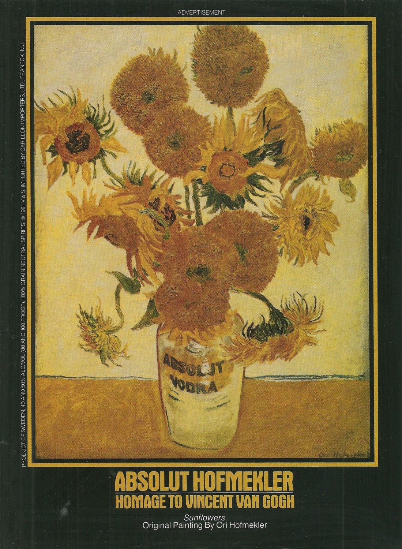 "ABSOLUT HOFMEKLER Vodka Magazine Ad ""Sunflowers"" by Ori Hofmekler"