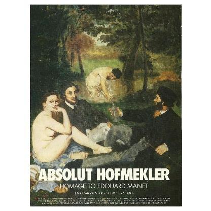 ABSOLUT HOFMEKLER Vodka Magazine Ad Homage to Edouard Manet by Ori Hofmekler