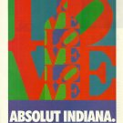 ABSOLUT INDIANA Vodka Magazine Ad w/ Artwork by Robert Indiana