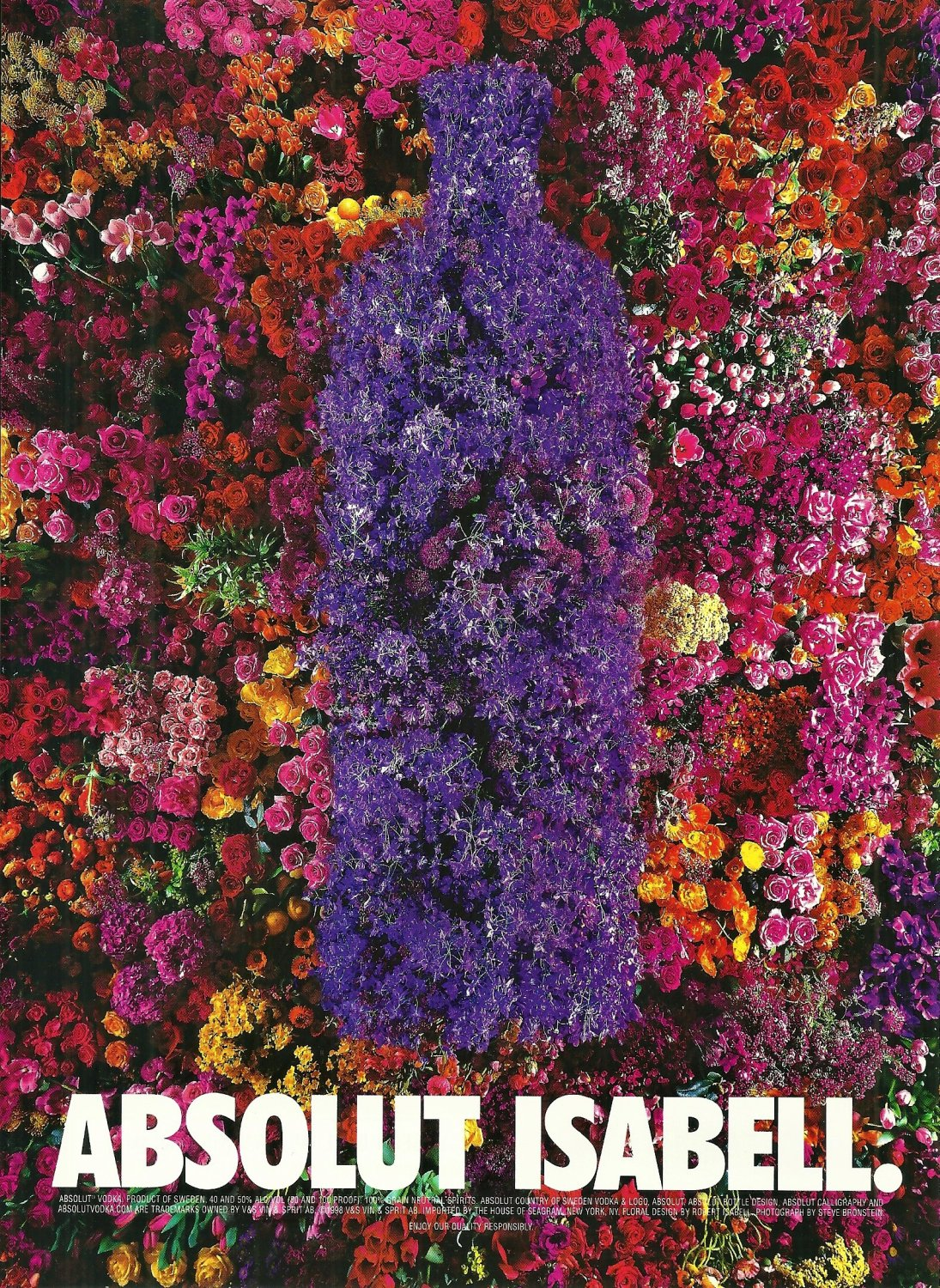 ABSOLUT ISABELL Vodka Magazine Ad w/ Floral Design by Robert Isabell