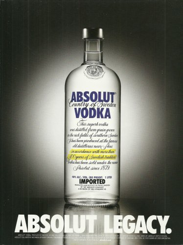 ABSOLUT LEGACY Vodka Magazine Ad NOT COMMON!