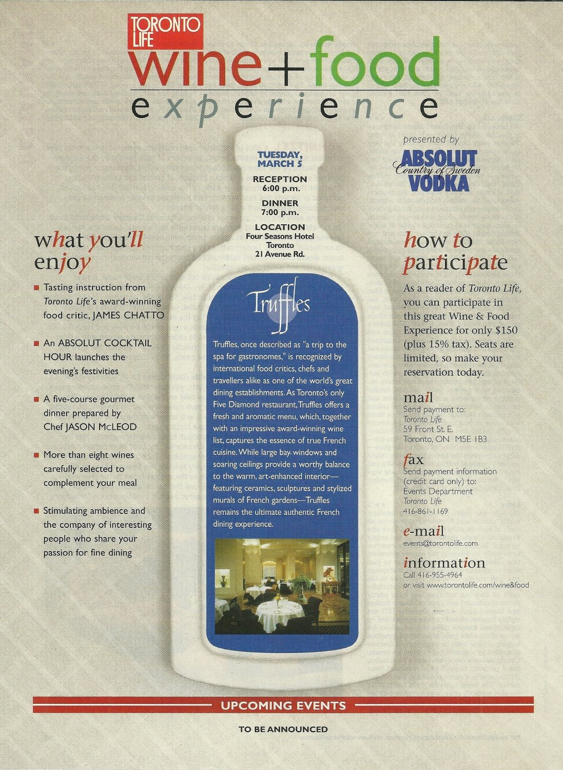 ABSOLUT McLEOD (Truffles Restaurant) Canadian Vodka Magazine Ad 2 pp RARE!