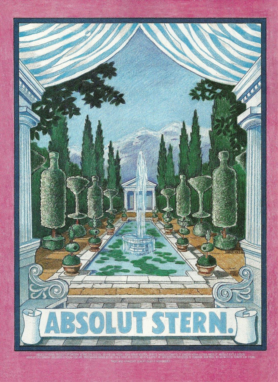 ABSOLUT STERN Vodka Magazine Ad w/ Artwork by Robert A.M. Stern HARD TO FIND!