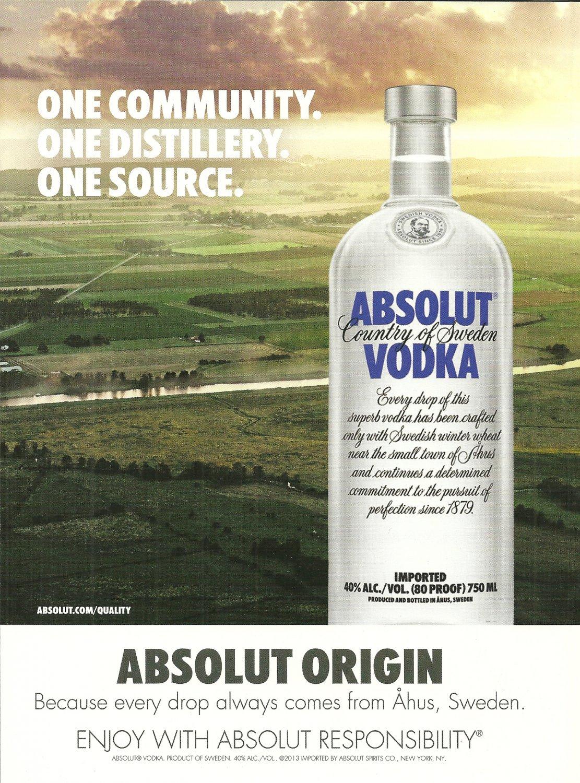ABSOLUT ORIGIN Vodka Magazine Ad ONE COMMUNITY. ONE DISTILLERY. ONE SOURCE.