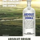 ABSOLUT ORIGIN Vodka Magazine Ad ONE COMMUNITY. ONE DISTILLERY. ONE SOURCE.