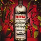 "ABSOLUT PEPPER Vodka Magazine Ad w/ an ""E"""