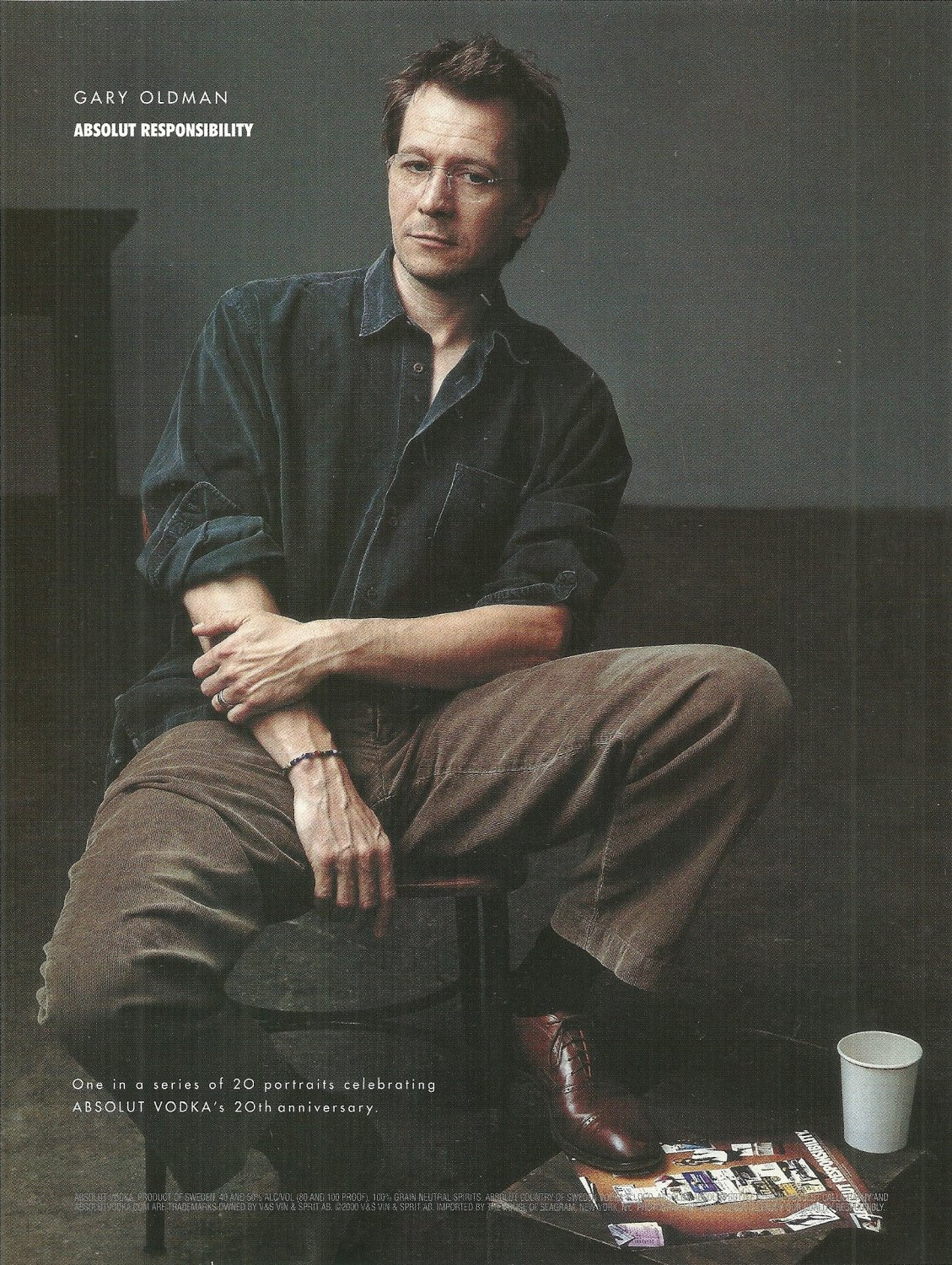 ABSOLUT RESPONSIBILITY Vodka Magazine Ad Featuring Gary Oldman NOT COMMON!